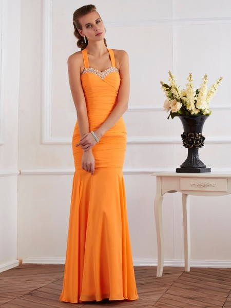 Trumpet/Mermaid Orange Chiffon Floor-Length Dresses with Beading