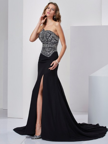 A-Line/Princess Black Chiffon Sweep/Brush Train Dresses with Beading