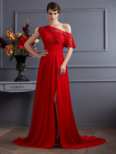 A-Line/Princess Red Chiffon Court Train Dresses with Applique