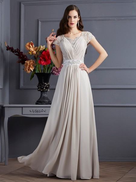 A-Line/Princess Grey Chiffon Floor-Length Dresses with Beading