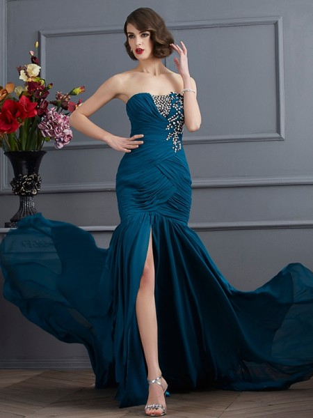 Trumpet/Mermaid Other Chiffon Sweep/Brush Train Dresses with Beading
