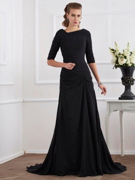 A-Line/Princess Black Chiffon Sweep/Brush Train Dresses with Pleats