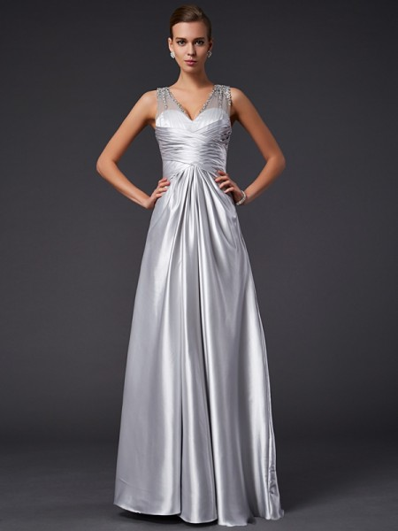 A-Line/Princess Silver Elastic Woven Satin Floor-Length Dresses with Beading