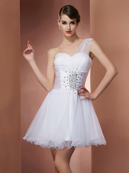 A-Line/Princess White Satin , Net Short/Mini Homecoming Dresses with Beading