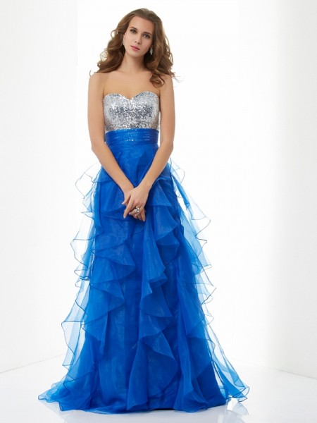 A-Line/Princess Royal Blue Satin , Tulle Floor-Length Dresses with Paillette