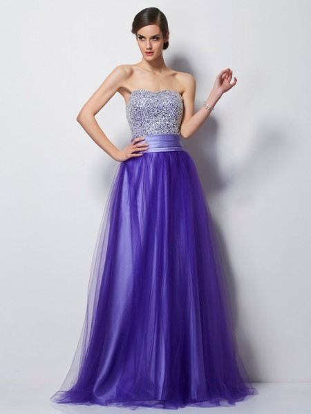 A-Line/Princess Regency Satin , Net Floor-Length Dresses with Beading