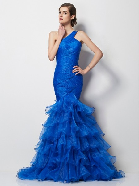 Trumpet/Mermaid Royal Blue Tulle Sweep/Brush Train Dresses with Pleats
