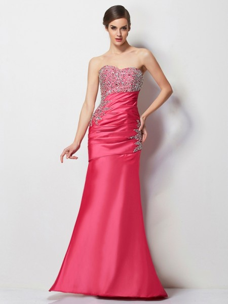Trumpet/Mermaid Fuchsia Taffeta Floor-Length Dresses with Beading