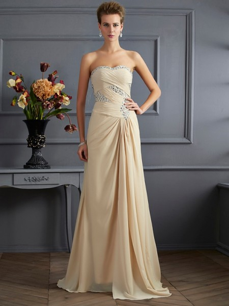 A-Line/Princess Champagne Chiffon Sweep/Brush Train Evening Dresses with Beading
