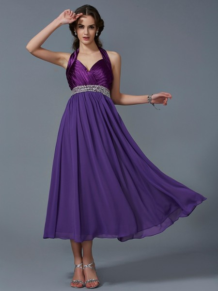A-Line/Princess Regency Chiffon Ankle-Length Bridesmaid Dresses with Beading