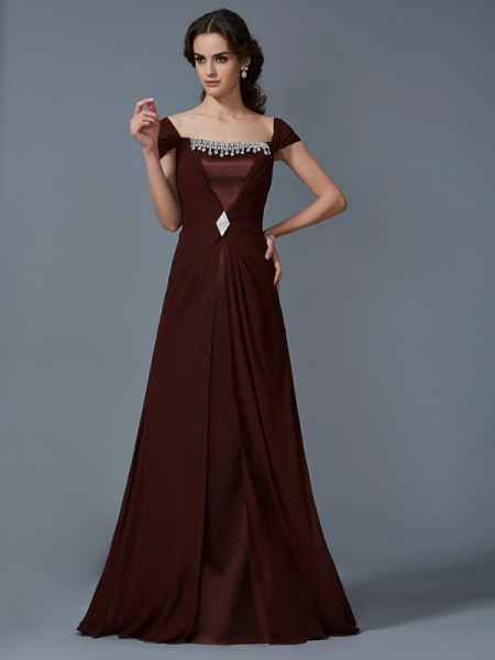 A-Line/Princess Chocolate Chiffon , Taffeta Floor-Length Dresses with Other