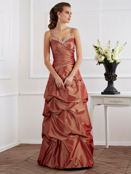 Sheath/Column Brown Taffeta Floor-Length Dresses with Beading