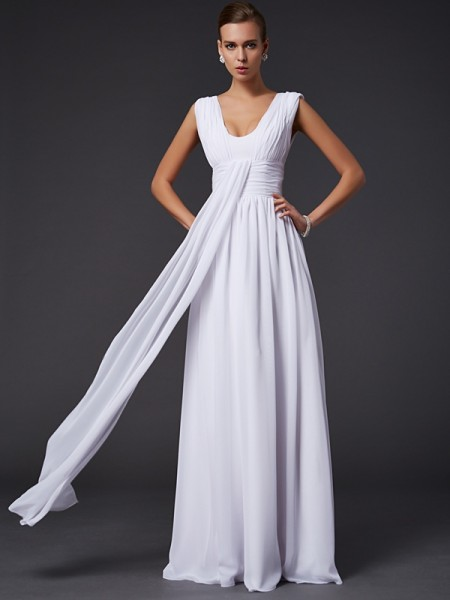 A-Line/Princess White Chiffon Floor-Length Dresses with Pleats