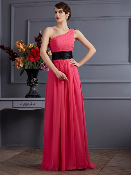 A-Line/Princess Fuchsia Chiffon Sweep/Brush Train Dresses with Pleats