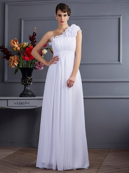 A-Line/Princess White Chiffon Floor-Length Dresses with Applique