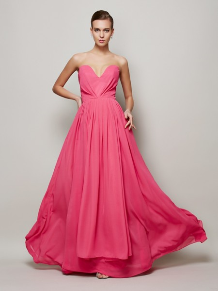 A-Line/Princess Fuchsia Chiffon Floor-Length Dresses with Pleats