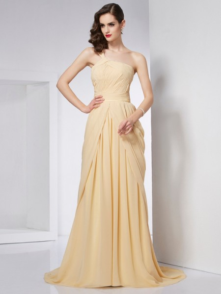 A-Line/Princess Champagne Chiffon Chapel Train Dresses with Pleats