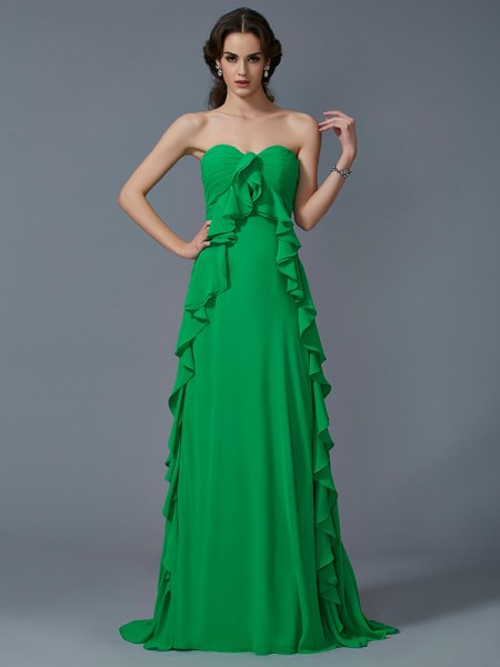 A-Line/Princess Green Chiffon Sweep/Brush Train Dresses with Ruffles