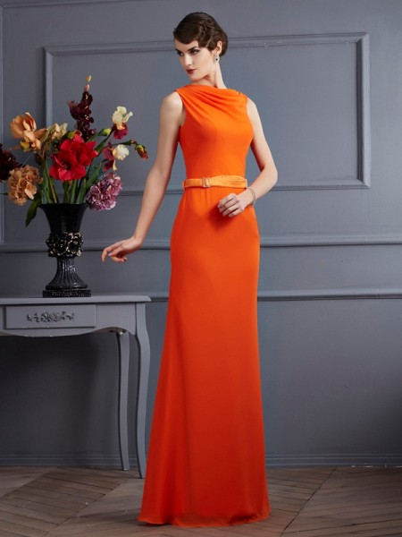 Sheath/Column Orange Chiffon Floor-Length Dresses with Sash/Ribbon/Belt