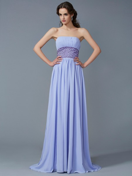 A-Line/Princess Lilac Chiffon Sweep/Brush Train Dresses with Beading