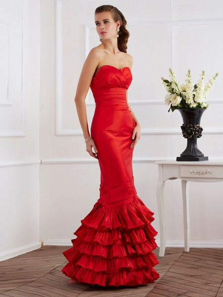 Trumpet/Mermaid Red Taffeta Floor-Length Dresses with Ruffles