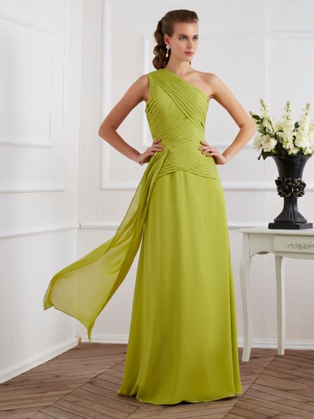 A-Line/Princess Green Chiffon Floor-Length Dresses with Pleats