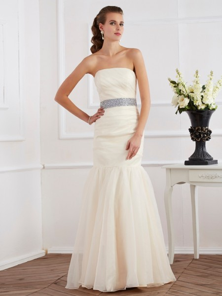 Trumpet/Mermaid Ivory Organza Floor-Length Dresses with Sash/Ribbon/Belt