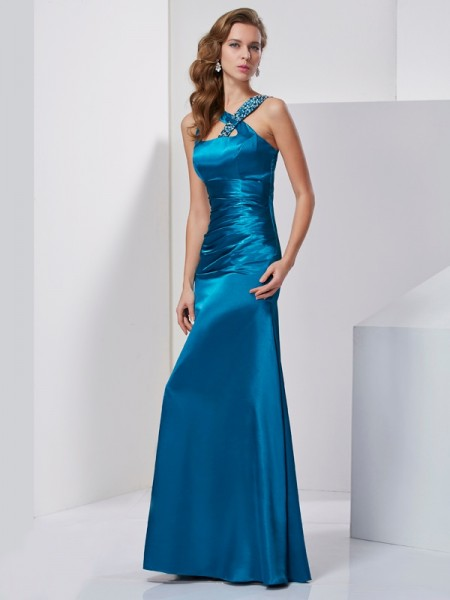 Sheath/Column Blue Silk like Satin Floor-Length Dresses with Beading
