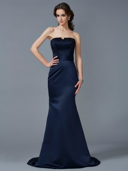 Trumpet/Mermaid Dark Navy Satin Sweep/Brush Train Dresses with Beading