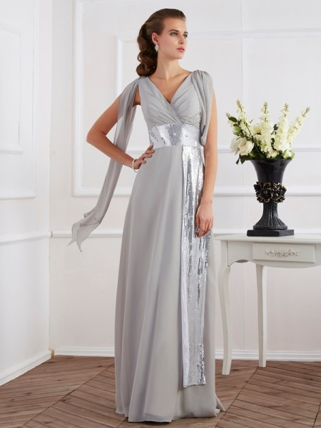 Sheath/Column Silver Chiffon Floor-Length Dresses with Lace