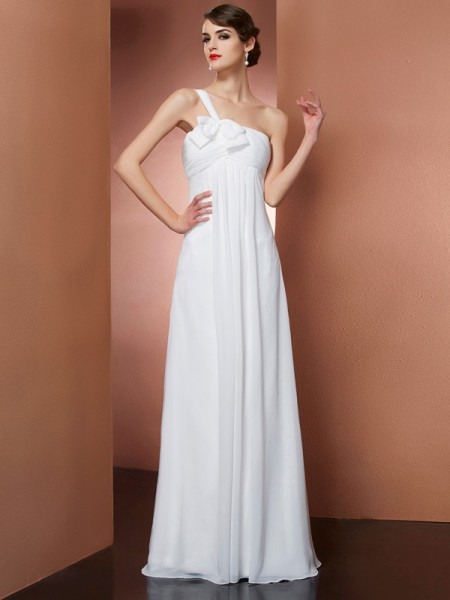 A-Line/Princess Ivory Chiffon Floor-Length Dresses with Bowknot