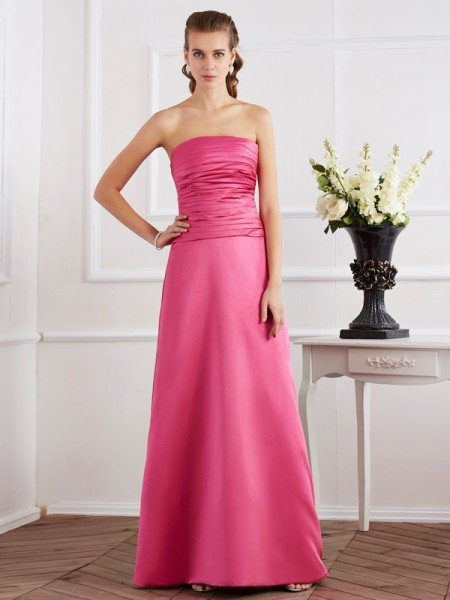 Sheath/Column Fuchsia Satin Floor-Length Dresses with Pleats