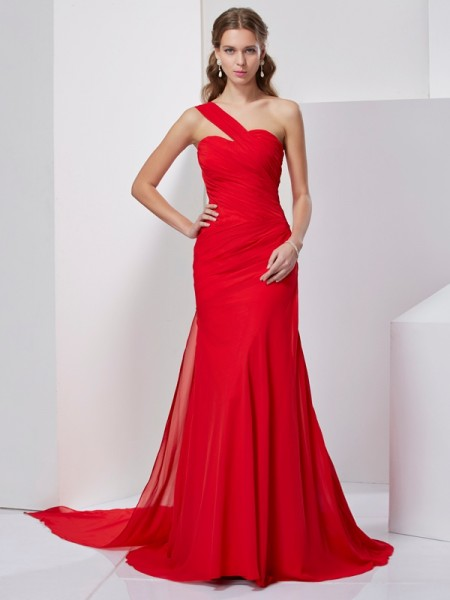A-Line/Princess Red Chiffon Sweep/Brush Train Dresses with Pleats