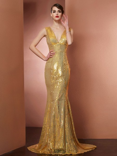 A-Line/Princess Gold Satin Chapel Train Dresses with Lace