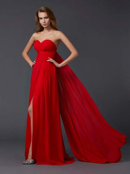 A-Line/Princess Red Chiffon Floor-Length Dresses with Pleats