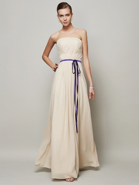 A-Line/Princess Champagne Chiffon Floor-Length Dresses with Sash/Ribbon/Belt