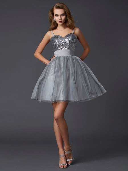 A-Line/Princess Grey Organza Short/Mini Homecoming Dresses with Other
