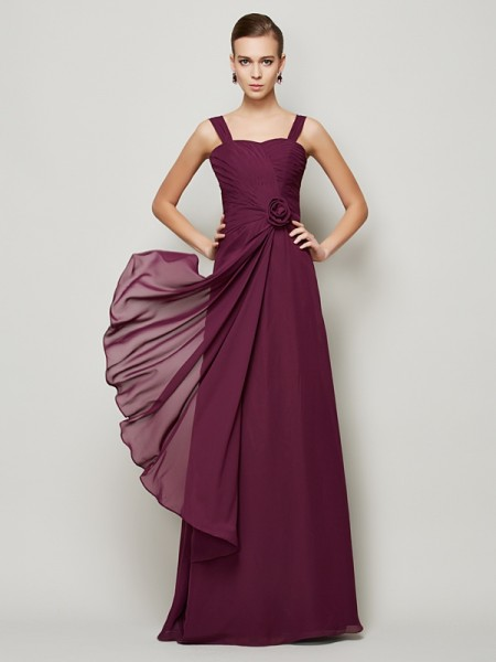 A-Line/Princess Grape Chiffon Floor-Length Dresses with Hand-Made Flower