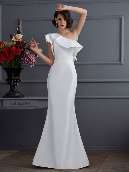 Trumpet/Mermaid Ivory Taffeta Floor-Length Dresses with Ruffles
