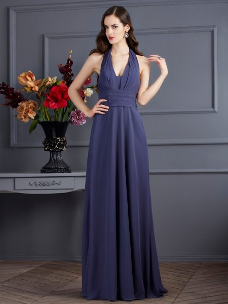 A-Line/Princess Grey Chiffon Floor-Length Dresses with Pleats