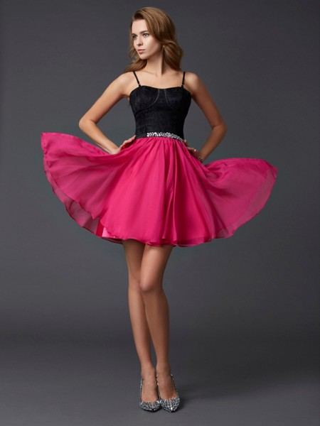 A-Line/Princess Multi Colors Chiffon , Lace Short/Mini Homecoming Dresses with Other