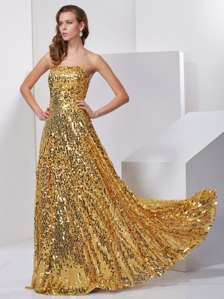 A-Line/Princess Gold Satin Floor-Length Dresses with Sash/Ribbon/Belt