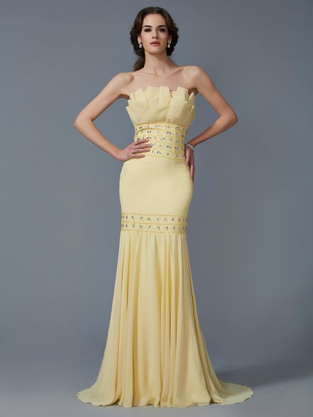 Trumpet/Mermaid Daffodil Chiffon Sweep/Brush Train Dresses with Beading