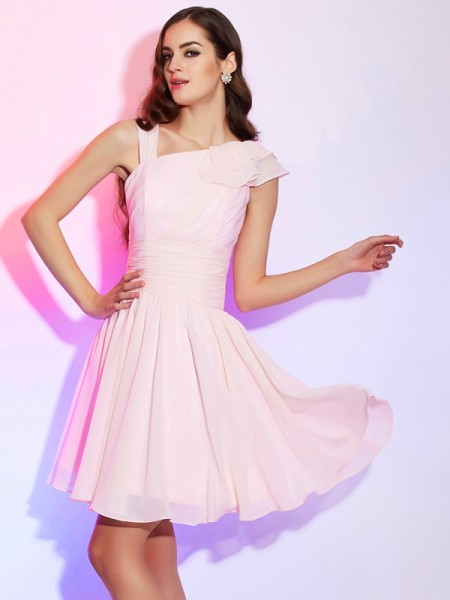 A-Line/Princess Pink Chiffon Short/Mini Homecoming Dresses with Pleats