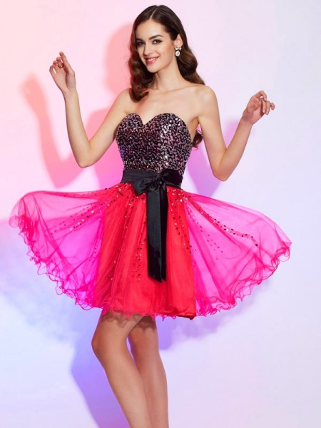 A-Line/Princess Watermelon Organza Short/Mini Homecoming Dresses with Sash/Ribbon/Belt