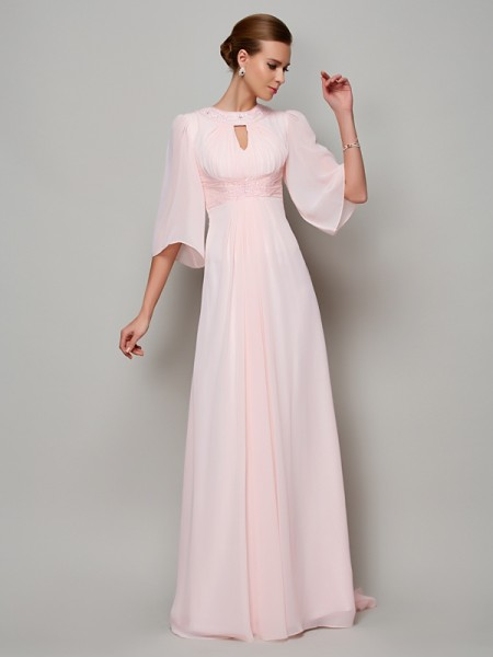 A-Line/Princess Pearl Pink Chiffon Sweep/Brush Train Mother Of The Bride Dresses with Beading