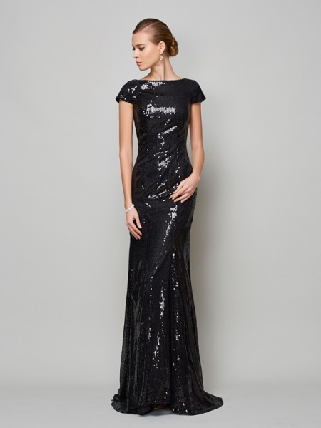 A-Line/Princess Black Lace Sweep/Brush Train Mother Of The Bride Dresses with Lace