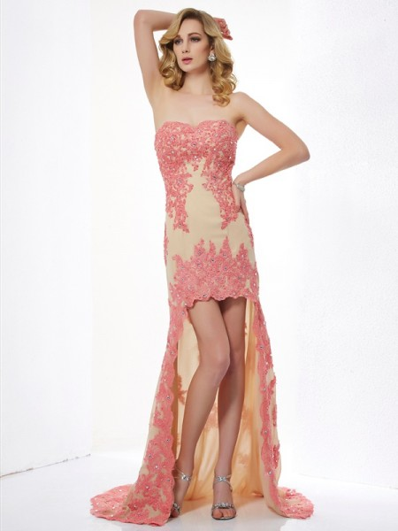 A-Line/Princess Champagne Lace Asymmetrical Dresses with Applique