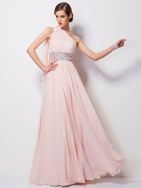 Sheath/Column Pearl Pink Chiffon Floor-Length Dresses with Beading