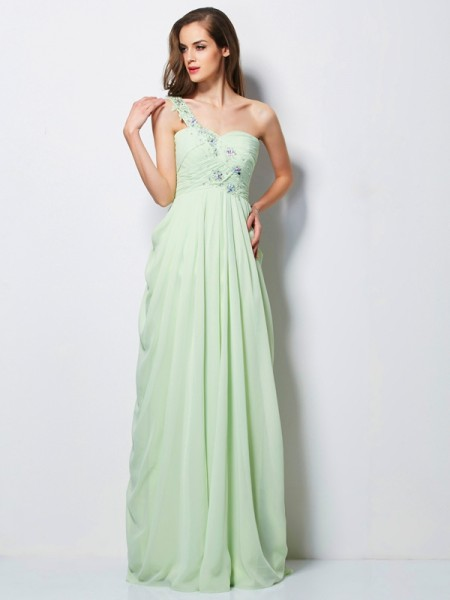 A-Line/Princess Sage Chiffon Floor-Length Dresses with Beading